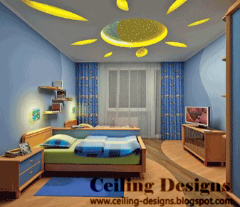 sun shaped bedroom ceiling designs from gypsum with mirrors