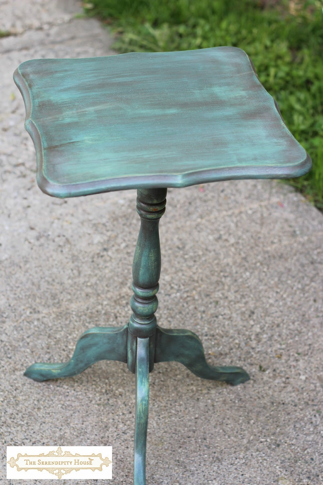 Painted Side Table w Miss Mustard Seed Milk Paint  Kitchen Scale    Cottage  Instincts23 Painted Furniture Projects Just In Time For Summer    twelveOeight. Teal Painted Kitchen Table. Home Design Ideas
