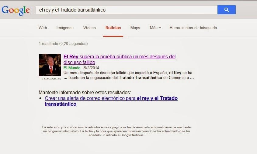 Busqueda en Google News: el rey de españa y el Tratado transatlántico