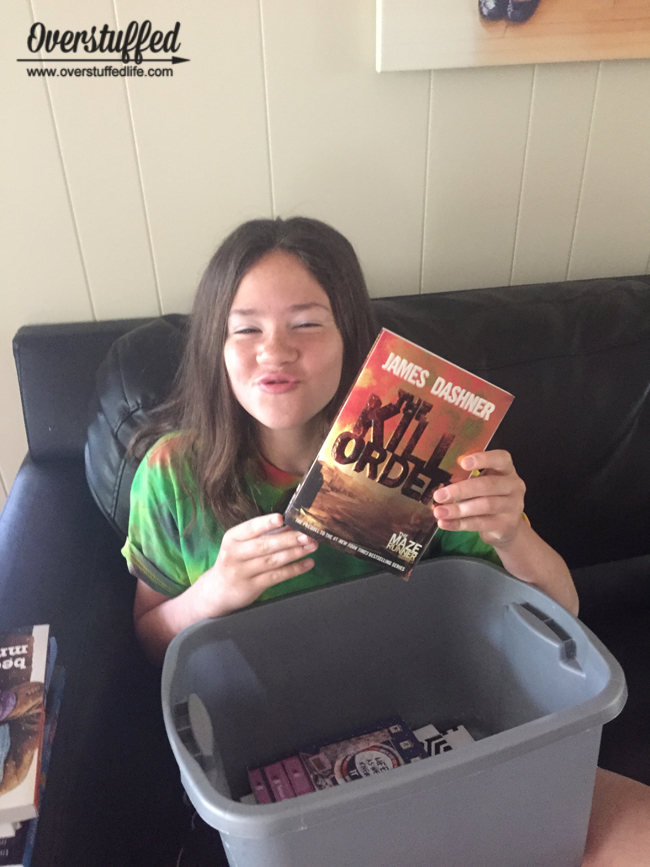 Give the kids a bin of books to read over the summer--but not so many that they don't get to choose some for themselves!