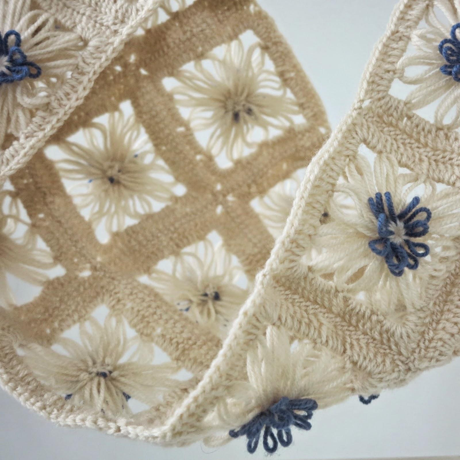 ByHaafner, crochet, flower loom, Hana Ami, Daisies in the Field Scarf