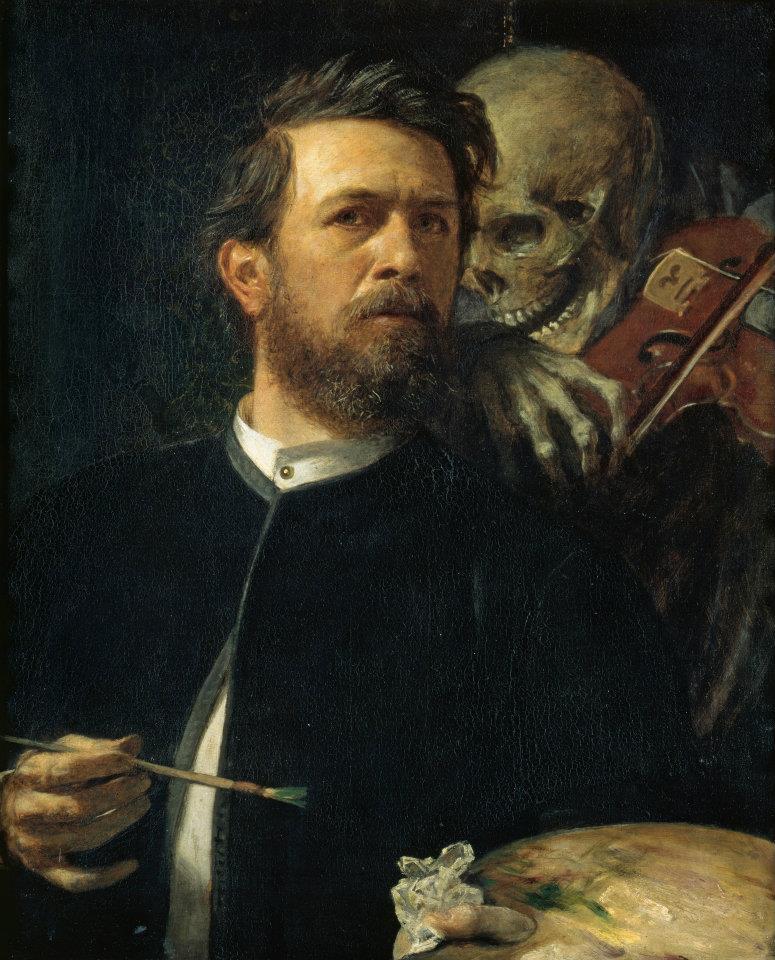 Arnold Böcklin 1827-1901 | Swiss Symbolist painter | Self Portrait with Death