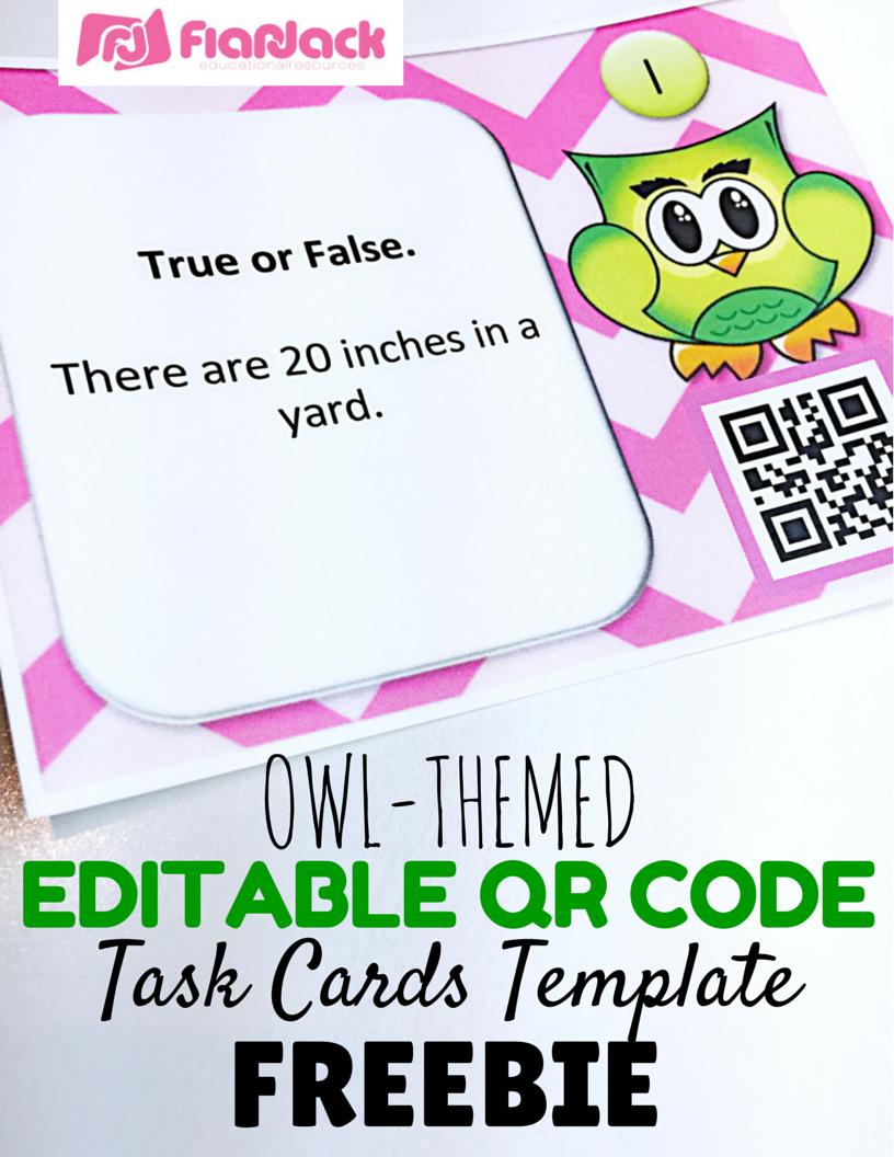 Editable QR Code Task Cards