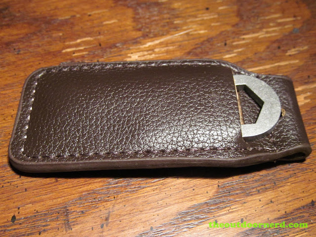 Navy CUI 2001 Keychain Tool in the optional leather sheath