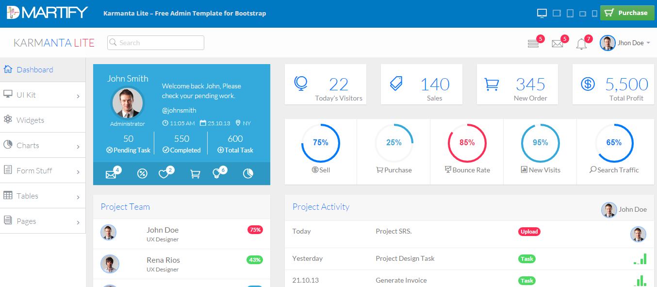 10 free bootstrap admin dashboard templates and themes for Bootstrap admin template free