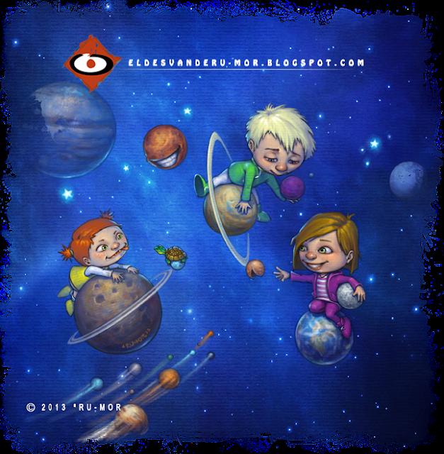 Ilustración hecha por ªRU-MOR para el libro infantil Ada y Zax, una historia muy terrestre, proyecto dela Fundación Colores del Alma
