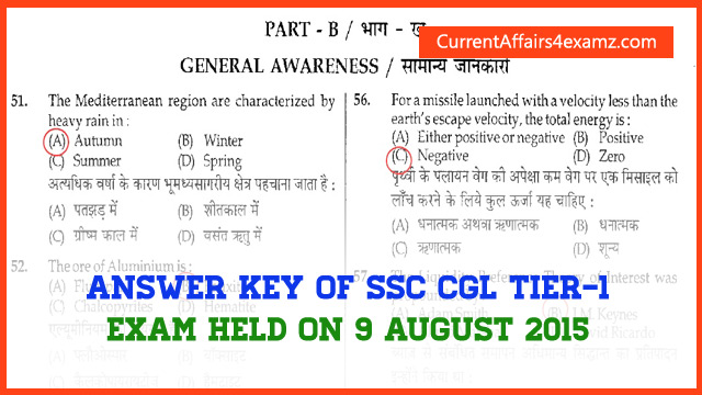 Answer Key SSC CGL Tier 1 2015