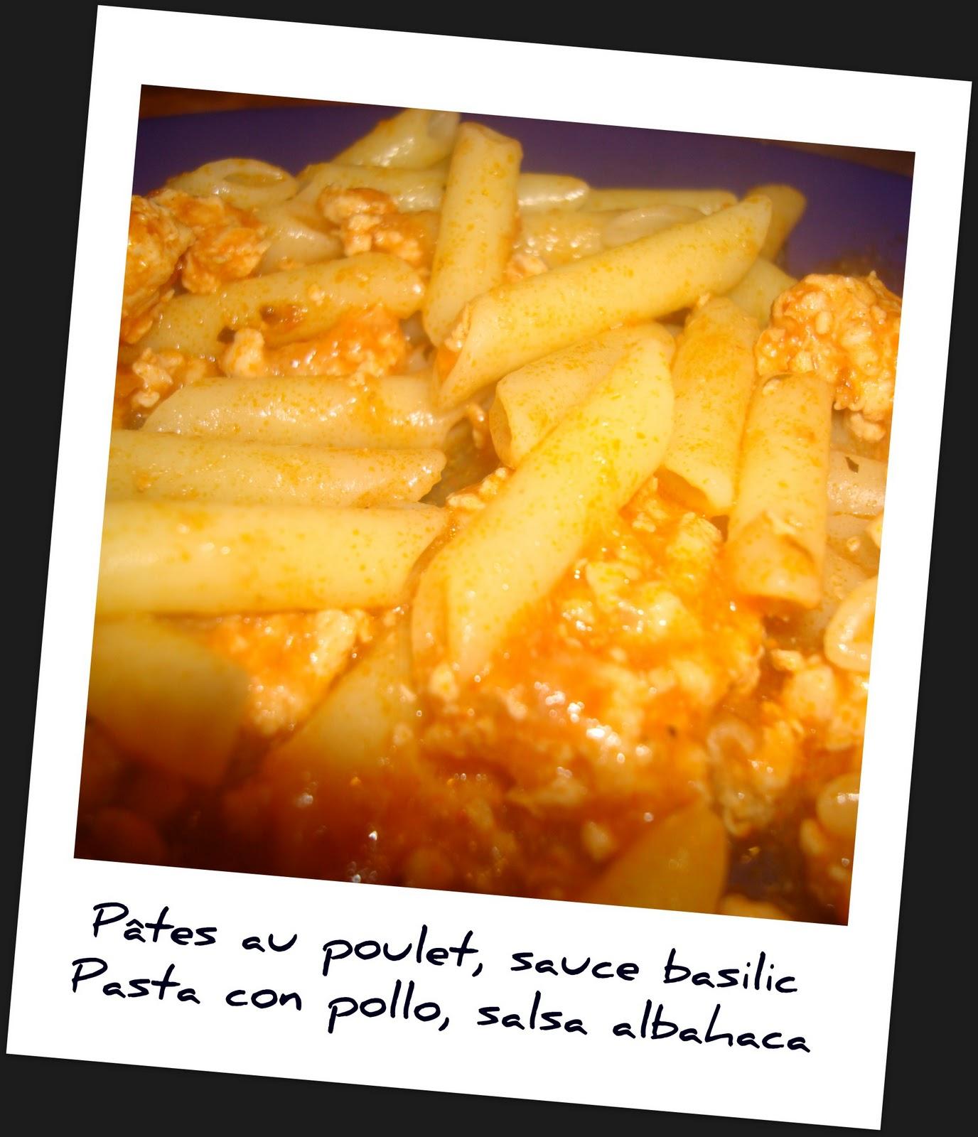 bon appetit p tes au poulet sauce basilic pasta con pollo salsa alhabaca. Black Bedroom Furniture Sets. Home Design Ideas