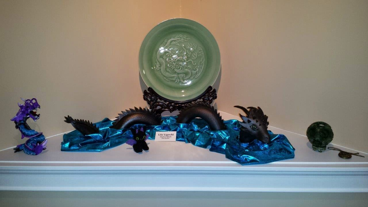 Dragon collection, featuring my handmade stoneware sea dragon.