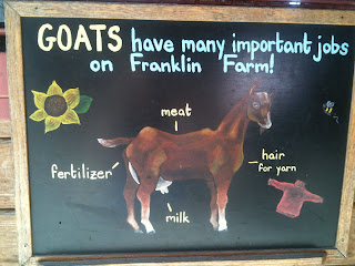 Sign says: Goats have many important jobs on Franklin Farm! fertilizer, meat, hair for yarn