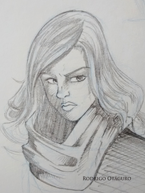Desenho sombreado à lápis de Jessica Jones por Rodrigo Otäguro