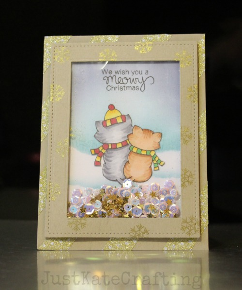 Kraft + Sparkle Challenge | Meowy Christmas Card by Just Kate Crafting | Newton's Christmas Cuddles set by Newton's Nook Designs #newtonsnook