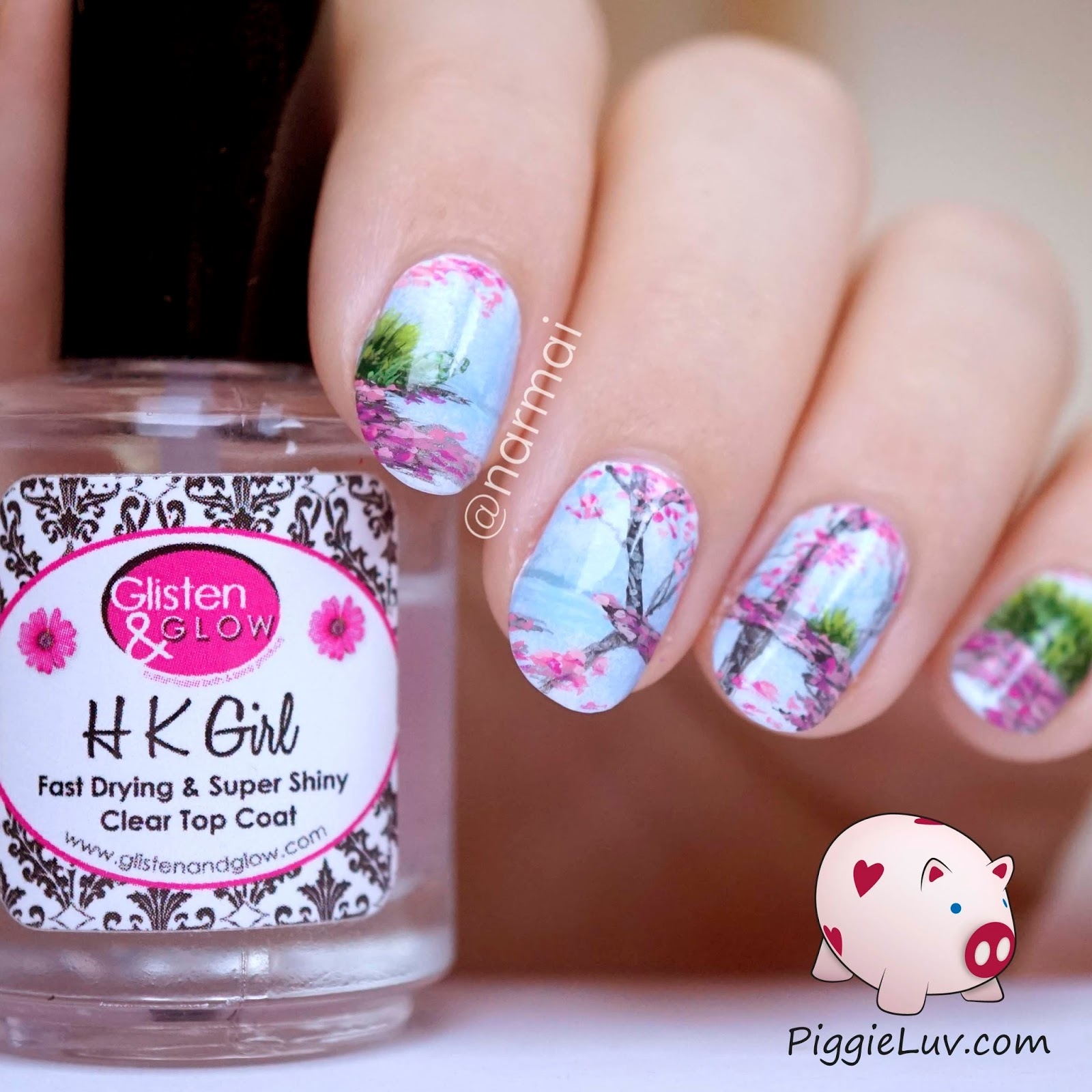 PiggieLuv: Freehand blossoms landscape nail art