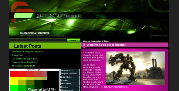 Gamediary Premium Blogger Template