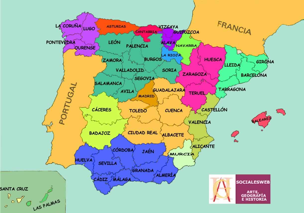provincias de españa en mapa