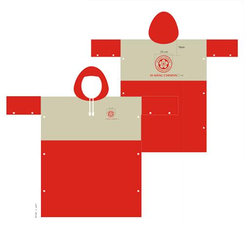 Áo mưa cánh dơi 2 màu đỏ vàng in logo