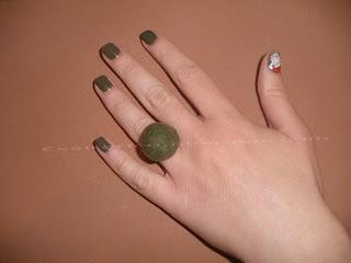 Χειροποίητο δαχτυλίδι από πράσινο felt