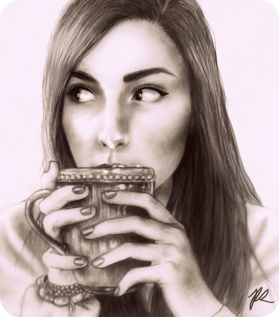 blanco y negro, café, dibujo, chica,