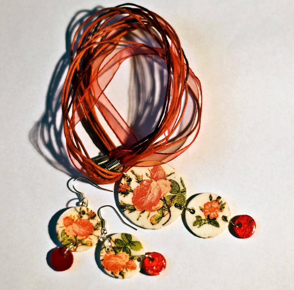Różany naszyjnik- decoupage