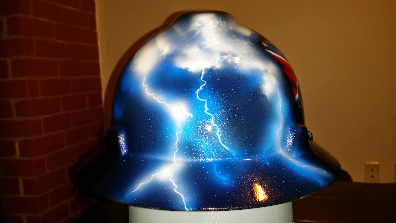 custom hard hat airbrushed with lightning storm