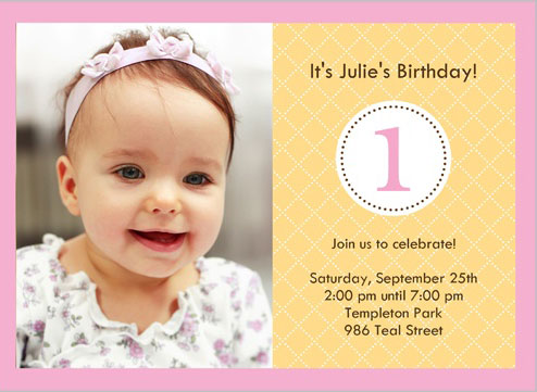 Baby Birthday Invitations - First birthday invitations girl online