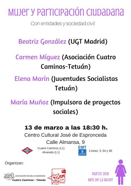 13 marzo Mujer y participación Ciudadana (Tetuán)