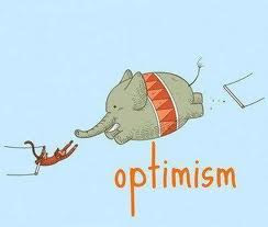 Optimism pic with elephant and monkey on trapeze