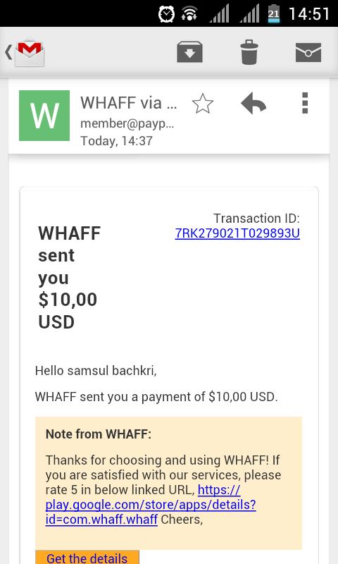 whaff Rewards prueba Pago