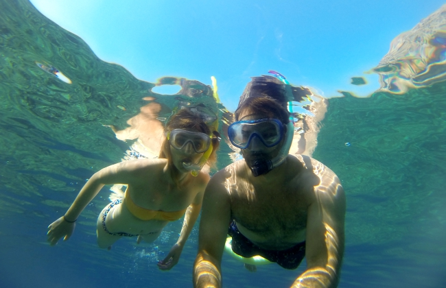 snorkelling in the Tyrrhenian Sea, Capri, Italy