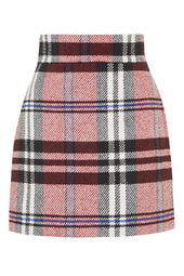 Checked Twill High-Waisted Skirt