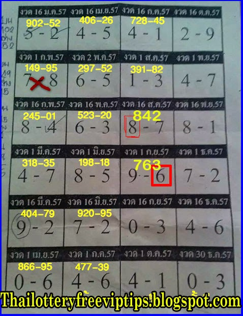 Thai Lottery Yearly Tip paper 16-09-2014