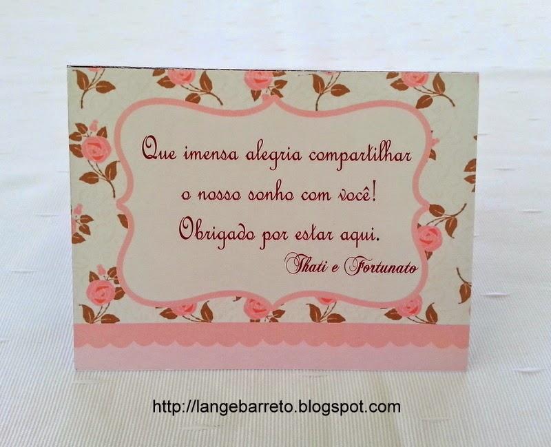 Cartão de agradecimento para mesa