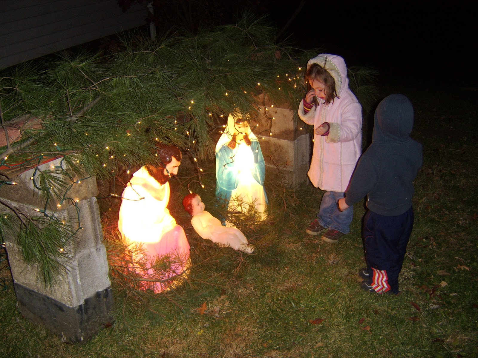 outside christmas lights another thing i love that for me truly shines bright in my favorites for christmas we build a stable and we have a three piece - Jesus Christmas Decorations