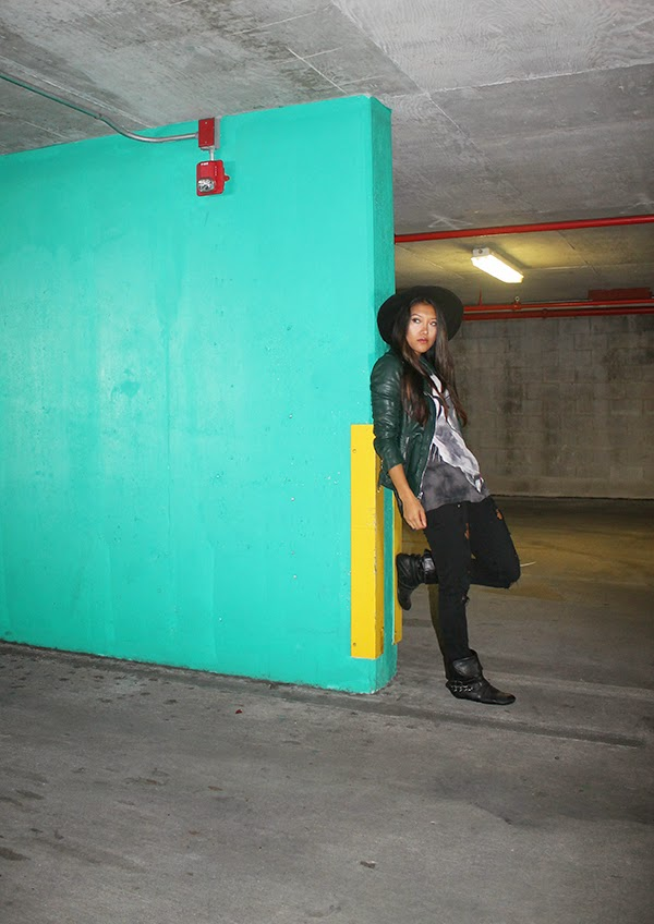 youtube, stylehaul, fashion blogger, miami fashion blogger, style by lynsee, travel style, travel outfit, black asos fedora, desigual graphic tee, green leather jacket, guess leather jacket, distressed jeans, black skinny jeans, black boots, flat black boots, miami fashion blogger, popsugar, lucky magazine, teen vogue, seventeen, people stylewatch