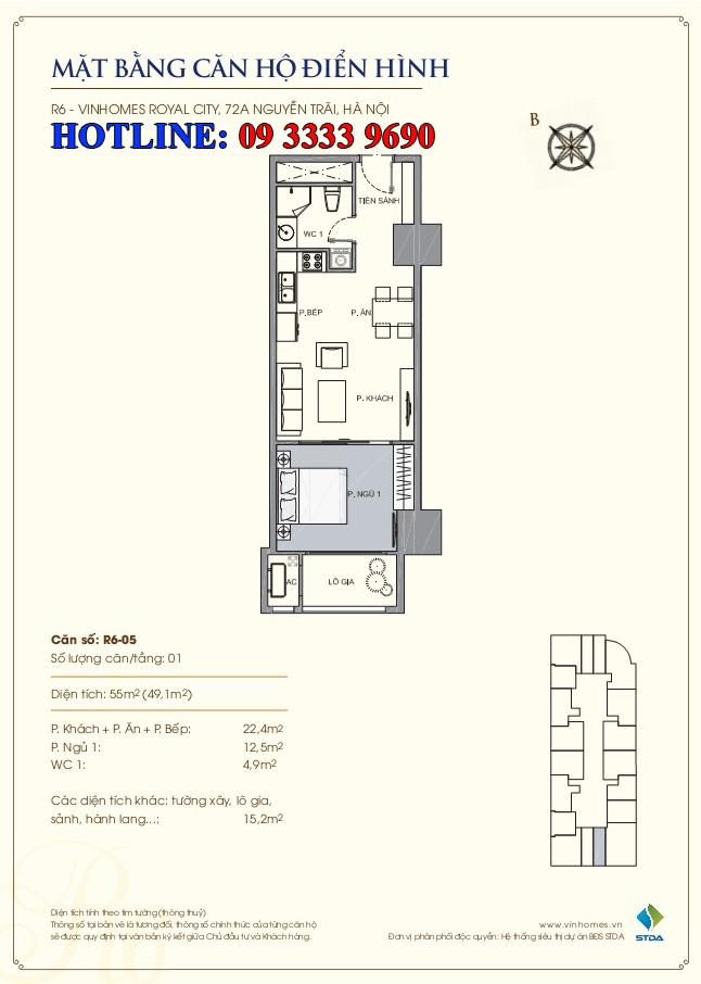 Mặt bằng căn hộ Royal-city-R6-05-55m