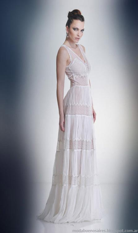 Vestidos de fiesta largos blancos moda 2014 Solo Ivanka.