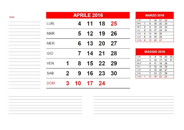 Calendario mensile 2016 - aprile