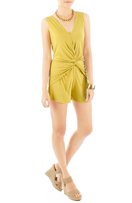 Knotted Hearts Romper – Yellow