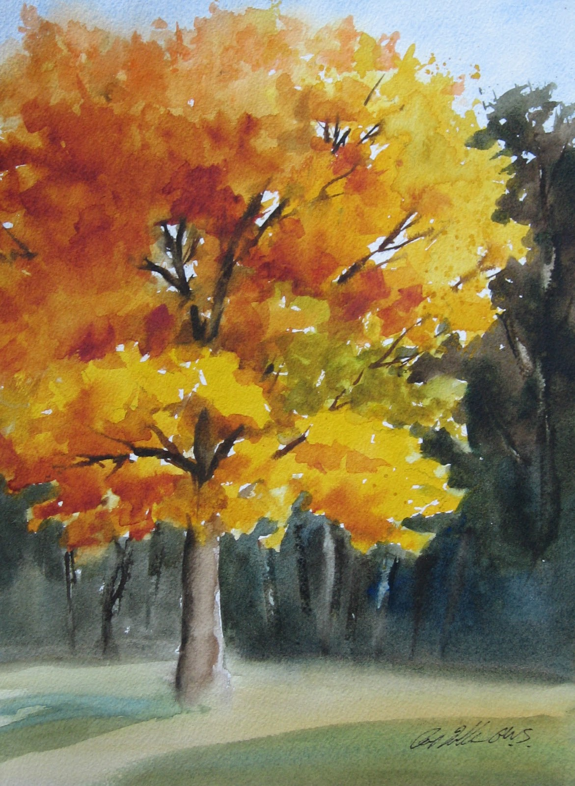 Pat fiorello art elevates life painting fall trees for Autumn tree painting