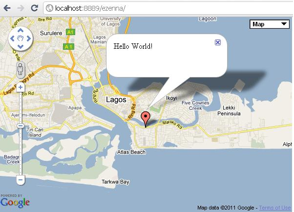 Google maps gdg lagos the infowindow pops up with thehello world message gumiabroncs Gallery