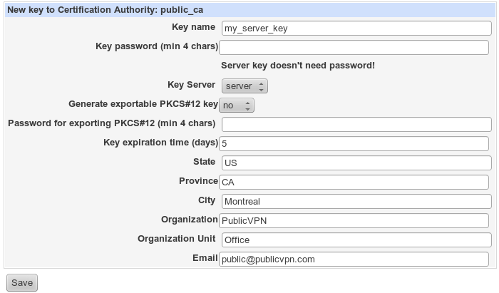 openvpn create server key