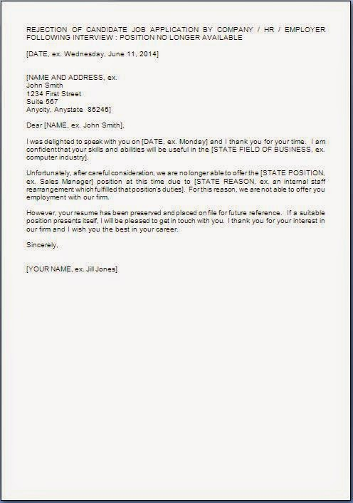 Offer Rejection Letter Template  Free Word Pdf Format Sample Letter
