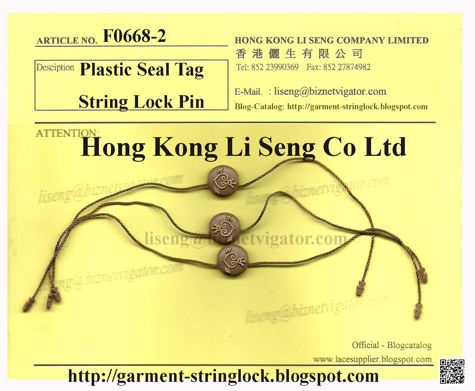 Hang Tag String, Plastic Seal, String Seal Supplier