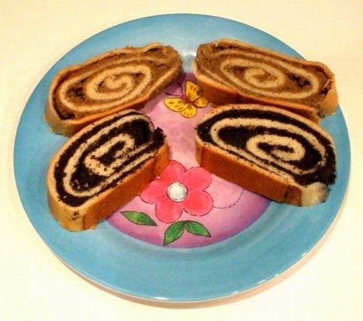 nut roll and poppy seed roll on a pretty plate - jaguarjulie