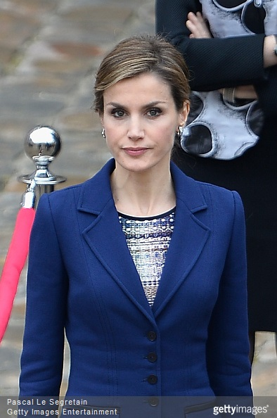 Queen Letizia of Spain attends a cermony in the courtyard of the Invalides as part of a three day official visit to France