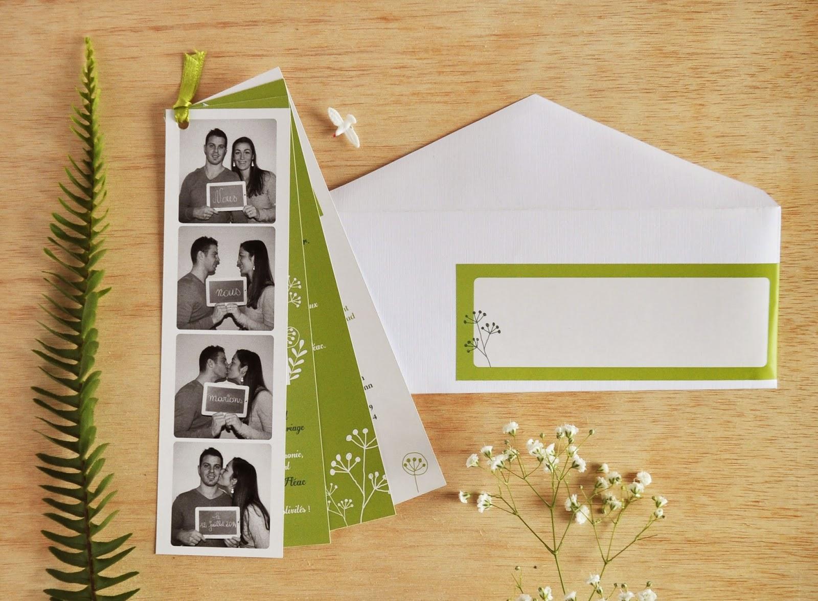 mariage mathilde loic vgtal doux et fleuri faire part de mariage photomaton - Faire Part Photomaton Mariage