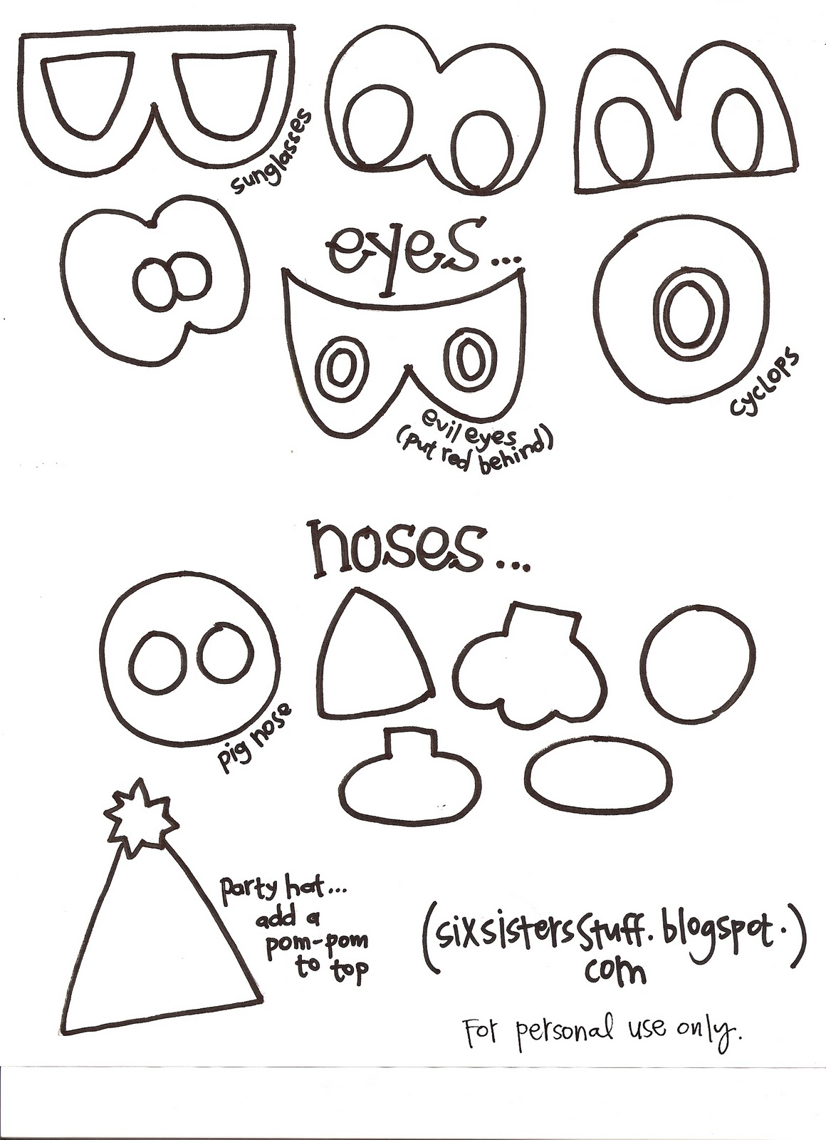 template mosnter - make your own monster puppets printable pattern six