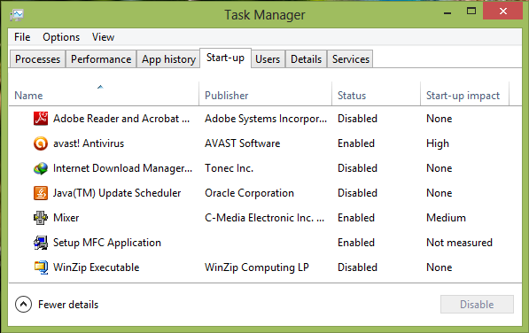Access startup menu windows 8