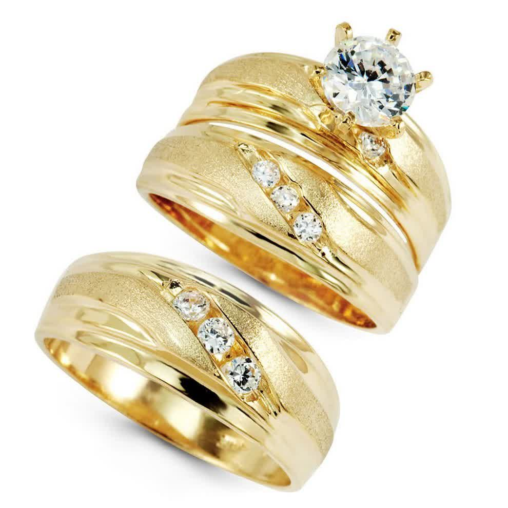 gold wedding ring sets for bride groom - Wedding Ring Sets For Bride And Groom