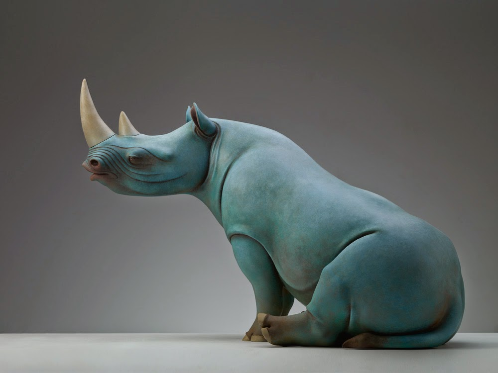 Surreal art Animal Sculptures Dream Series by Wang Ruilin rhino